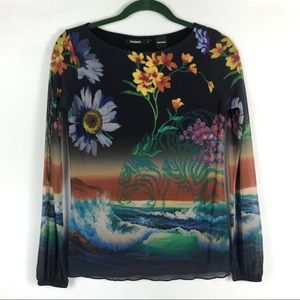 Desigual   Women's Sheer Overlay Floral Print Top